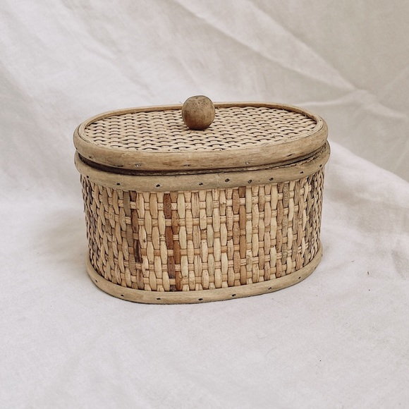 Vintage Rattan Caned Storage Canister Box